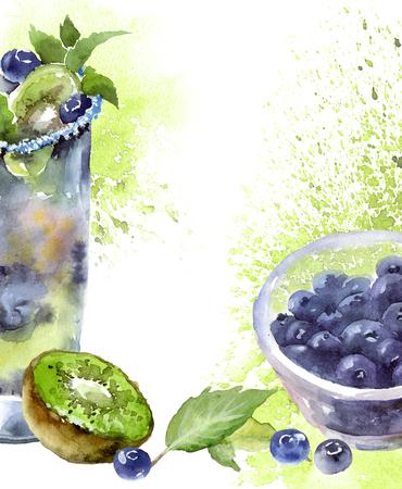 Watercolor mojito cocktail Stockfoto
