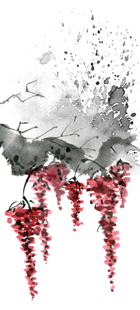 Watercolor and ink illustration of tree branch with red flowers, grunge watersplashes texture background, sumi-e and u-sin oriental traditional painting, illustration on white background