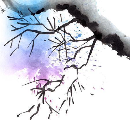 Watercolor tree branch with blue and purple watersplash Stockfoto