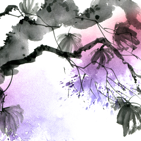 Watercolor and ink painted maple tree with watersplash