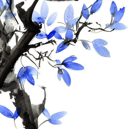 Watercolor and ink painted tree with leaves Stockfoto