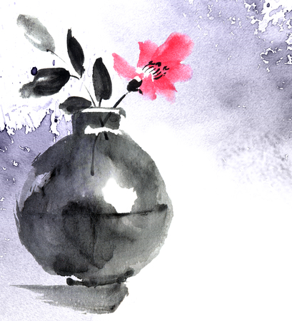 Watercolor painted still life with flower in vase Stockfoto