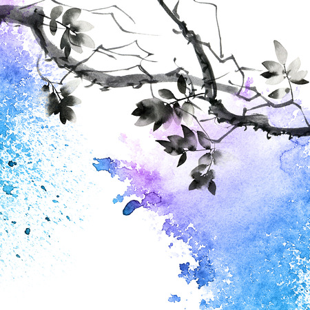Watercolor and ink painted tree with watersplash