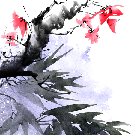 Watercolor blossom tree