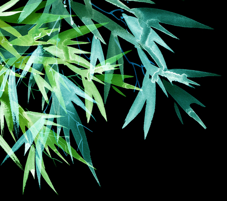 Neon tropical bamboo with leaves