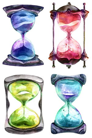 Alchemical sand hourglass, watercolor paintind on white background