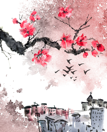 Watercolor painted city landscape in oriental chinese style