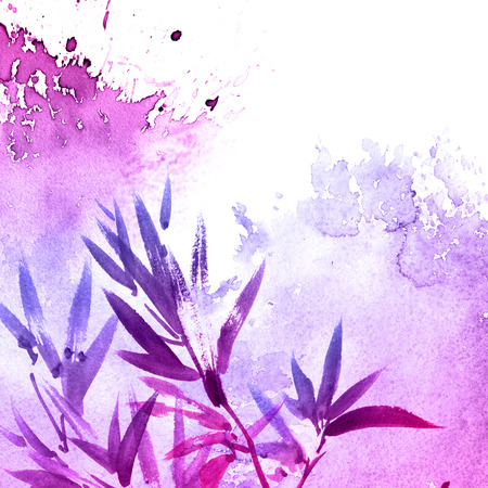Watercolor and ink illustration of tree foliage in style sumi-e, u-sin. Oriental traditional painting. Background for decorative card, invitation or cover Stockfoto