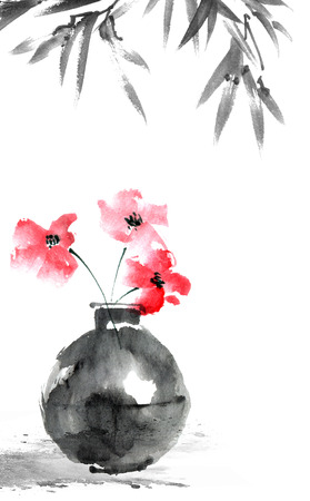 Watercolor and ink illustration of flower in vase, sumi-e and u-sin oriental traditional painting, decorative background for postcard, invitation, greeting card Stockfoto
