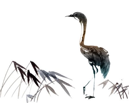 Watercolor and ink illustration of heron bird, sumi-e oriental painting, hand drawn art