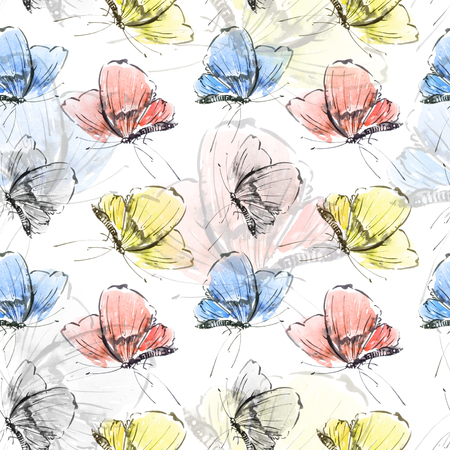 Watercolor and ink illustration of butterfly, sumi-e and u-sin painting, seamless pattern Stock Photo