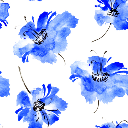 Watercolor and ink illustration of flowers. Sumi-e, u-sin painting. Seamless pattern.