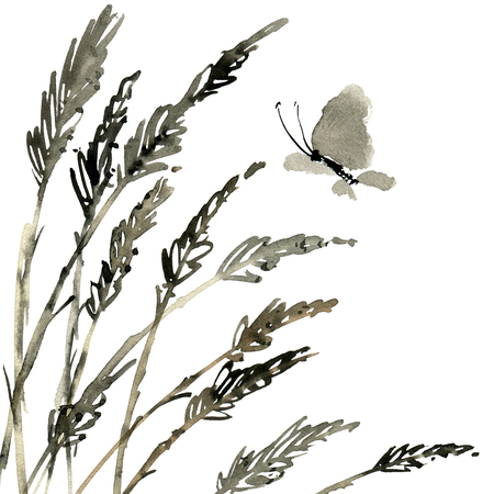 Watercolor and ink illustration of meadow grass and flying butterfly, sumi-e and u-sin painting