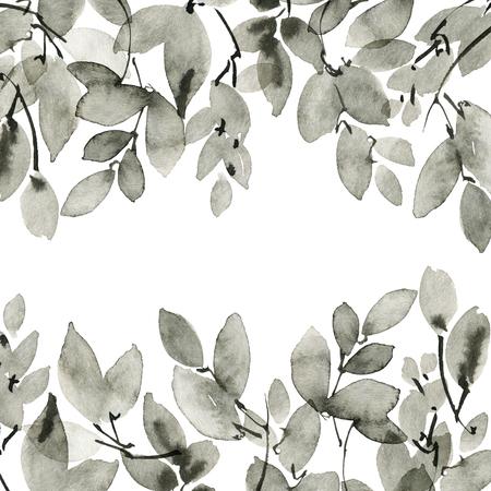 Watercolor tree leaves Imagens