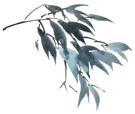 Aquarell gemalte Baumblätter