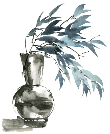 Watercolor and ink painted leaves in vase in style sumi-e, u-sin. Oriental traditional painting. Decorative element for invitation, cover or greeting card.