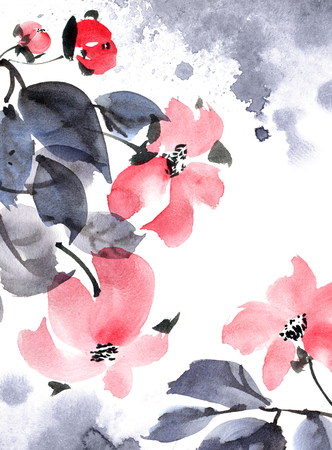 Watercolor and ink painted flowers with leaves in style sumi-e, u-sin. Oriental traditional painting. Decorative element for invitation, cover or greeting card. Stockfoto