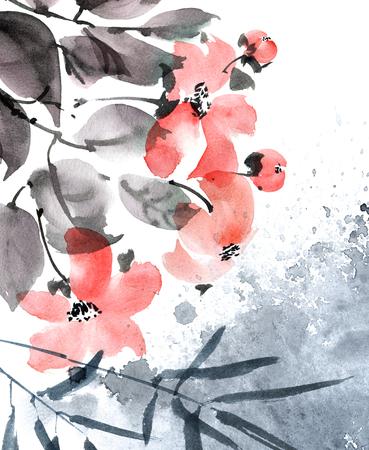 Watercolor painted flowers Stockfoto
