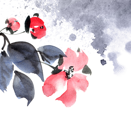 Watercolor and ink painted flowers with leaves in style sumi-e, u-sin. Oriental traditional painting. Decorative element for invitation, cover or greeting card. 스톡 콘텐츠