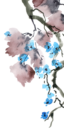 Watercolor and ink painted blossom tree branch with flowers and leaves in style sumi-e, u-sin. Oriental traditional painting. Decorative background for invitation, cover or greeting card.