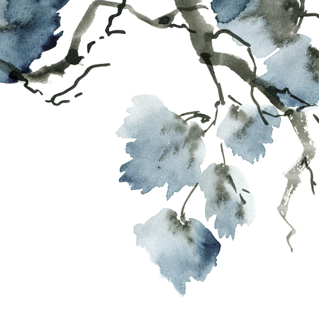 Watercolor and ink illustration of tree foliage in style sumi-e, u-sin. Oriental traditional painting. Background for decorative card, invitation or cover 스톡 콘텐츠