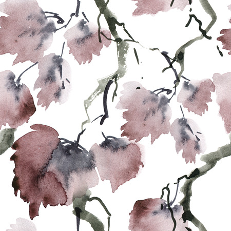 Watercolor and ink illustration of tree foliage in style sumi-e, u-sin. Oriental traditional painting. Seamless pattern. Standard-Bild - 123974946