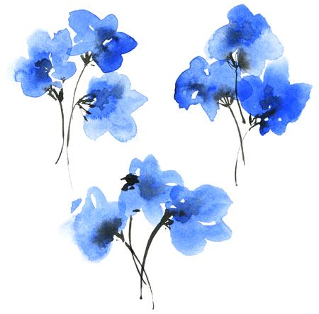 Ramos de flores azules pintadas en acuarela y tinta. Pintura tradicional oriental. Conjunto decorativo para invitación, portada o tarjeta de felicitación.