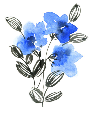 Watercolor and ink painted blue flowers bouquets. Oriental traditional painting. Decorative element for invitation, cover or greeting card. 스톡 콘텐츠