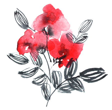 Watercolor and ink painted red flowers bouquets. Oriental traditional painting. Decorative element for invitation, cover or greeting card. 스톡 콘텐츠