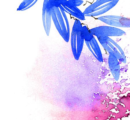 Watercolor illustration of blue leaves with rainbow color watersplashes. Decorative background for cover, greeting card or invitation. Stockfoto