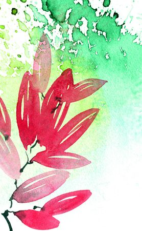 Watercolor illustration of pink tree leaves with color watersplashes. Decorative background for cover, greeting card or invitation.