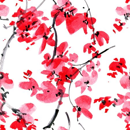 Watercolor and ink illustration of blossom sakura tree branch. Sumi-e, u-sin oriental traditional painting. Seamless pattern. Stock Photo