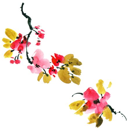 Watercolor and ink illustration of sakura tree with flowers and leaves. Oriental traditionalpainting in style sumi-e, u-sin and gohua. Stock Photo