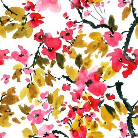 Watercolor and ink illustration of sakura tree with flowers and leaves. Oriental traditionalpainting in style sumi-e, u-sin and gohua. Seamless pattern. Stock Photo