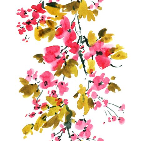 Watercolor and ink illustration of tree with flowers and leaves. Stock Photo