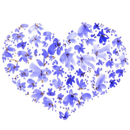 Watercolor painted flowers in a shape of heart. Decorative greeting card for Valentine day or wedding. Stock Photo - 131983151