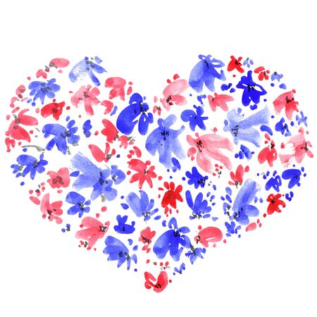 Watercolor painted flowers in a shape of heart. Decorative greeting card for Valentine day or wedding.