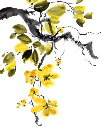 Watercolor and ink illustration of tree with flowers and leaves. Oriental traditional painting in style sumi-e, u-sin and gohua.