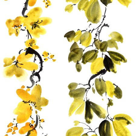 Watercolor and ink illustration of blossom tree with flowers and leaves. Oriental traditionalpainting in style sumi-e, u-sin and gohua. Seamless pattern.