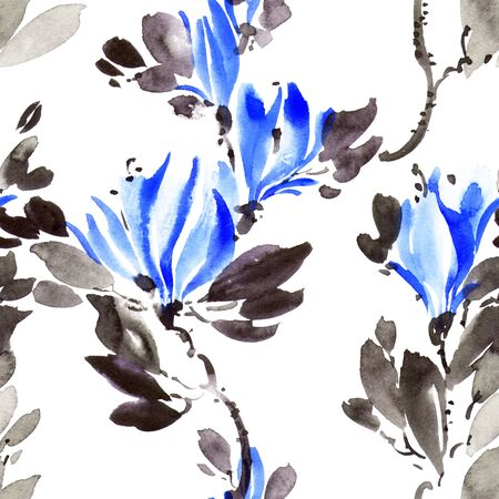 Watercolor and ink illustration of tree with blue flowers and leaves. Oriental traditionalpainting in style sumi-e, u-sin and gohua. Seamless pattern.