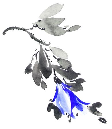 Watercolor and ink illustration of blue tree with flowers and leaves. Oriental traditionalpainting in style sumi-e, u-sin and gohua. Stock Photo