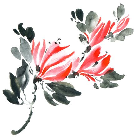Watercolor and ink illustration of tree with red flowers and leaves. Oriental traditionalpainting in style sumi-e, u-sin and gohua.