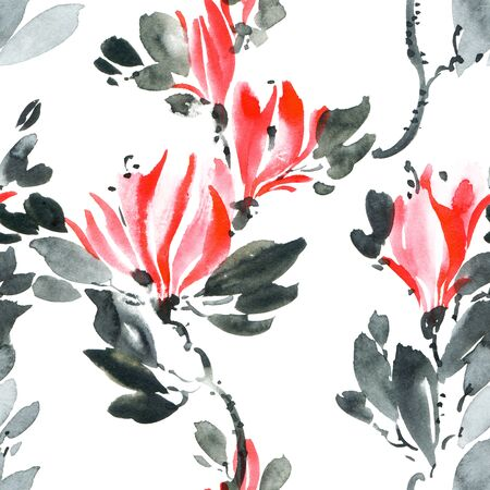 Watercolor and ink illustration of tree with red flowers and leaves. Oriental traditionalpainting in style sumi-e, u-sin and gohua. Seamless pattern.