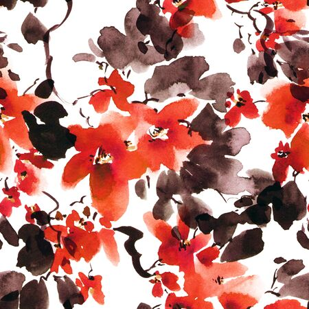 Watercolor and ink illustration of tree with violet flowers. Oriental traditionalpainting in style sumi-e, u-sin and gohua.