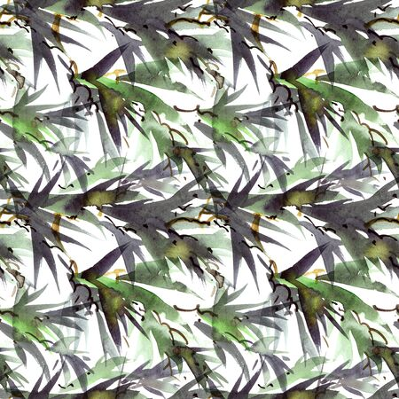 Watercolor and ink illustration of bamboo leaves in style sumi-e, u-sin. Oriental traditional painting. Seamless pattern.