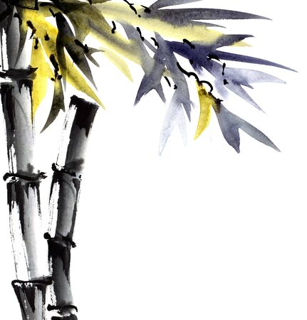 Watercolor and ink illustration of bamboo with leaves in style sumi-e, u-sin. Oriental traditional painting. Background for decorative card, invitation or cover