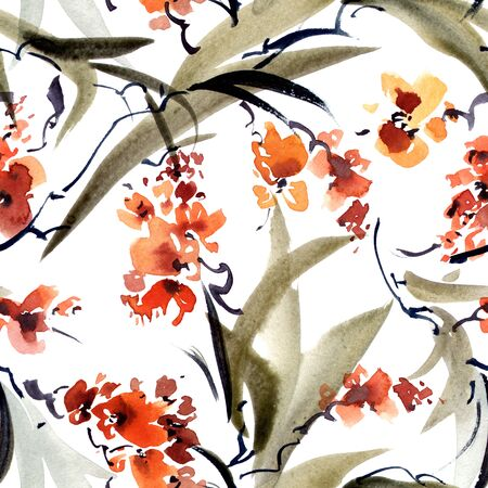 Watercolor and ink illustration of tree leaves and flowers in style sumi-e, u-sin. Oriental traditional painting. Seamless pattern.