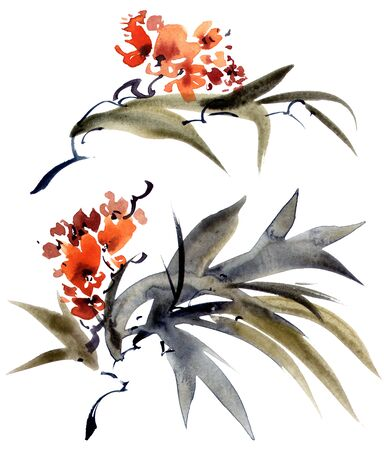 Watercolor and ink illustration of blossom tree branch with leaves and flowers in style sumi-e, u-sin on white background. Oriental traditional painting.