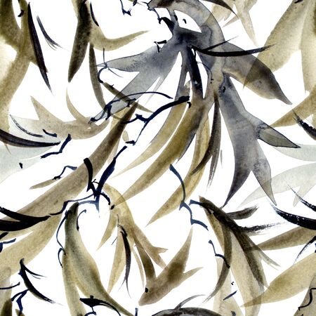 Watercolor and ink illustration of tree leaves in style sumi-e, u-sin. Oriental traditional painting. Seamless pattern. Stock fotó
