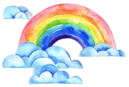 Watercolor illustration of rainbow and clouds on white background